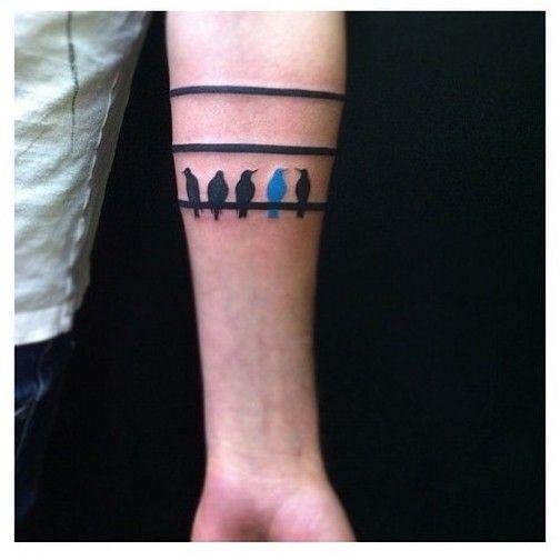 Listra e pássaros bonitos Arm Tattoos da faixa