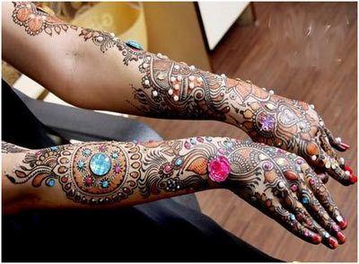 Melhor árabe Mehndi Designs para as mãos coloridas 25